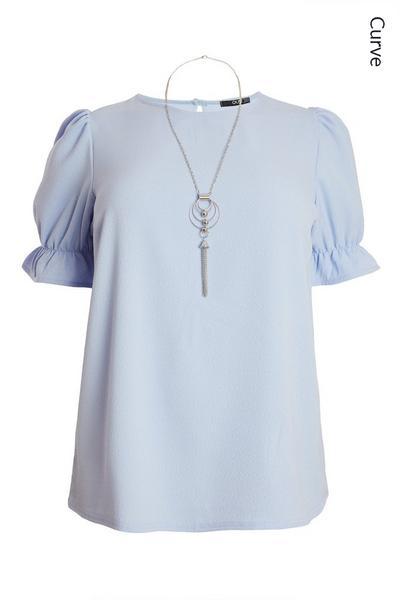 Curve Blue Necklace Top